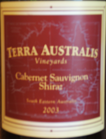This Terra Australis Vineyards Cabernet Sauvignon Shiraz 2003 is medium